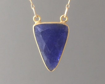 Double Connected Blue Sapphire Triangle Necklace