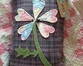 Large Heart Flower Prim Pillow~ Primitive Spring or Easter Decor~ Hearts~ wool~Vintage Quilt