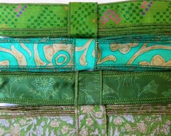 Green Silk Sari Ribbon R96