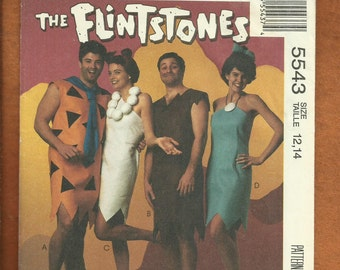 McCall's 5543 Flintstones Costumes Fred Wilma Barney & Betty Size 12/14 Kids/Teens  UNCUT