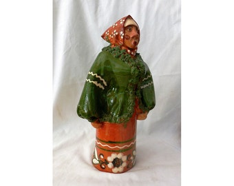 Female Russian Folk Figurine DMYKA Terracotta Clay Sculpture Glazed