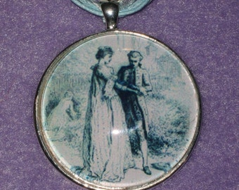 1700's Drawing - 40mm silver plated picture pendant