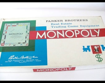 Vintage monopoly game, 1960s monopoly game, parker brothers game, monopoly board game