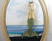 Mermaid, Princess mermaid, sea queen, mermaid art, folk art mermaid, OOAK mermaid.