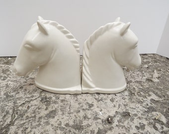 Abington Horse Head White Bookends, Original Stickers, Art Pottery, Home Decor, Horse Lovers, Circa 1936