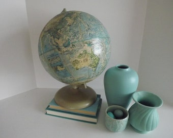 Rand McNally World Portrait Globe, Raised Topography Mountain Ranges. Metal Stand,Home Decor, Circa 1970's