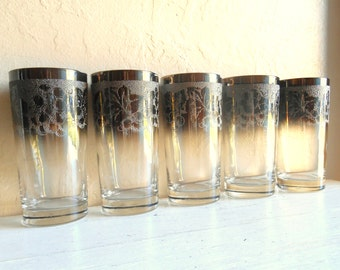 Set of 4 5 Silver Rimmed Mid-Century Drinking Glasses Tall Tumblers