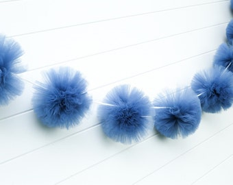 Smokey Blue tulle garland Party decorations, weddings, baby showers, room decor
