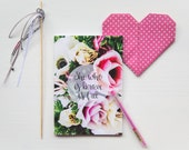She who is brave is free floral notebook - with 60 blank pages inside