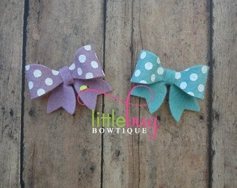 Lavender and Vintage Aqua Blue with White Polka Dot Wool Felt Piggy Tail Bow Set for Newborns, Girls, Babies, Toddlers, Teens, Adults