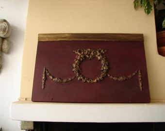 Christmas decor,ornate roses wreath & swags,old wooden,salvaged panel,rich wine/burgundy painted, gilt finish