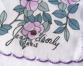 Jean d' orly PARIS Hankie Lavender Flowers on Cotton with Scalloped Border Clean Free Ship