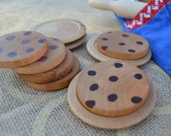 Wooden Cookies with Plates - Sealed with Beeswax Polish - For the Waldorf Inspired Play Kitchen