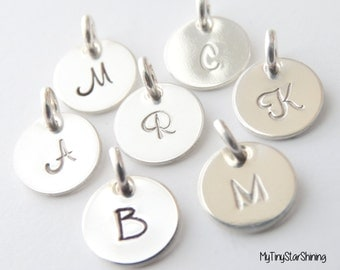 Initial Charm Sterling Silver Initial Letter Charm Hand stamped  Personalized Initial Charm Add Charms Add Extra Initial disc