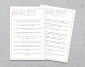Bridal Shower Game - Romance Movie Trivia Game - Instant Download - MS Word Template
