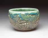 blue  green brown turquoise glazed  ceramic  pottery bowl chawan
