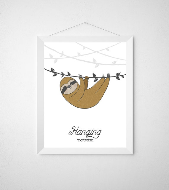 Items similar to sloth nursery print minimal modern for Minimal art wall