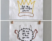 Set of two Where the Wild Things Are hand embroidered illustrations flat 5x7 inches