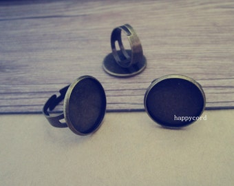 8pcs Adjustable antique bronze (copper ) Ring tray base 20mm