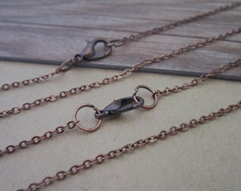 30pcs  1.5mm  Antique copper red (copper) Link chain with Lobster clasp  19inch
