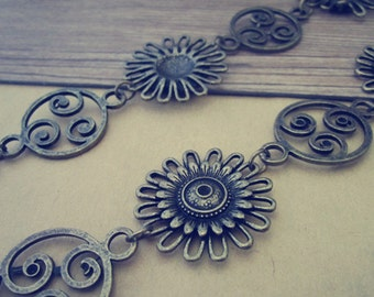 3.28ft Antique bronze Plated Metal Tibetan Style Beautiful Flower Chain  30mmx30mm