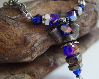 Deep Reflective Purple Beaded Antique Silver Upcycled Wing Nut Angel Necklace