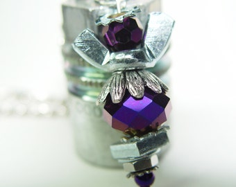 ROAD ANGEL - Reflective Deep Purple & Silver Upcycled Wingnut Rear View Mirror Angel Charm