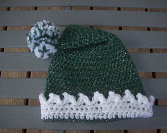 Hat,Crocheted,Green,White,Pom Pom,Baby,Toddler,Child,Gift,Photo Prop,Holiday