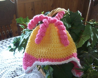 Hat,Crocheted,Photo Prop,Gift,Baby,Babies,Girl,Girls,Infants,Pink,Yellow,Earflaps,Ringlets,Shower
