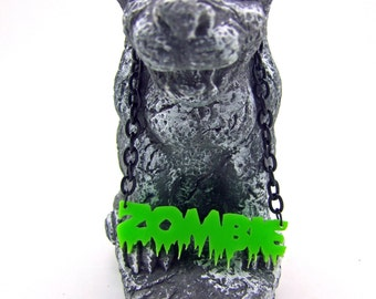 Halloween Necklace, Zombie Necklace, Horror Necklace, Laser Cut Acrylic Necklace, Black Necklace, Green Fluorescent Necklace