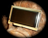 Exotic Blackwood Business Card Case - Stainless Steel - FREE Engraving