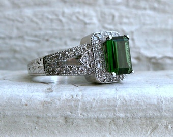 Vintage 14K White Gold Diamond and Tourmaline Halo Ring - 2.91ct.