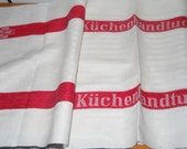 Vintage German Linen Long Towel, Kuchen Handtuch, Kitchen Towels With Red Stripes