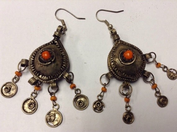 Antique Moroccan Berber Queen Tribal enameled Wirework & Coral Stone Earrings