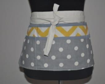 Chevron utility Apron, Women's Vendor Apron, Teacher aprons, craft fair apron, Yellow chevron apron, Gray polka dot apron, Gray apron