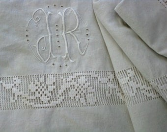 French linen sheet with hand done drawn thread work monogram JR.