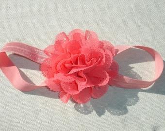 Very Pink Eyelet Chiffon Flower Headband - Children's Accessories