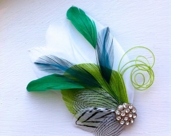 SIDNEY in Lime, Teal, and Emerald Green with Black and White Feather Fascinator with Crystal and Pearl, Feather Hair Clip, Bridal Hair Piece