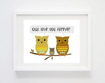 Owl Love You Forever - Digital Art Print