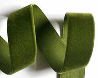 """Velvet - 7/8"""" x  5 yds - Olive Green - Made in Switzerland"""