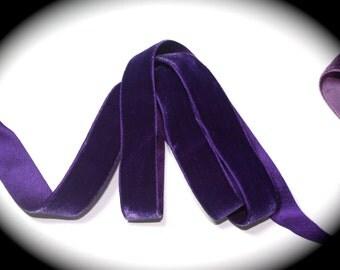 "Velvet Ribbon -7/8"" x 2 yds Purple -Cotton, Rayon & Silk - Super Soft - Made in France"
