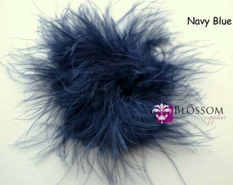 Set of 2 NAVY BLUE Puffs - The Sophie Collection - Marabou Puffs - DIY Flower Headband Supplies - Feather Puff