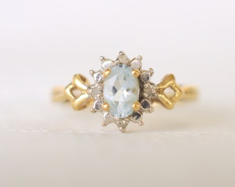 1970's vintage / Aquamarine and Diamond engagement ring / wedding ring / 9k yellow with white gold accents