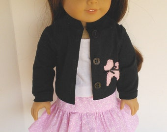 """18"""" Doll Clothes fits American Girl - Pink and Black Poodle Outfit"""