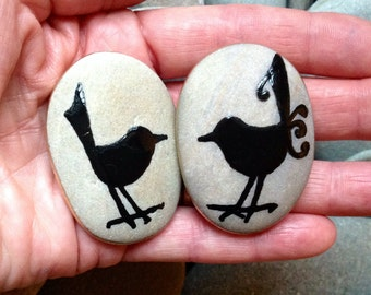 Love Birds / black birds / painted rocks / Sandi Pike Foundas / beach stones from Cape Co