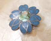 Signed Vintage TAXCO Mexico, Sterling Silver & TURQUOISE Chip Inlay Flower Pin/Brooch/Pendant