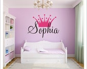 Princess Crown Personalized Vinyl Wall Decal Large Vinyl Wall Decal Girls Nursery Bedroom Home Decor Princess Decal Crown Wall Decal Girls