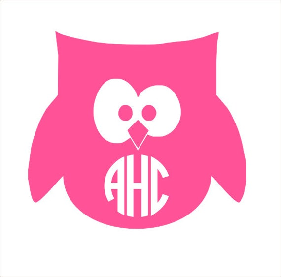 Items Similar To Owl Monogram Decal Owl Car Decal Owl Monogram Car - Owl custom vinyl decals for car