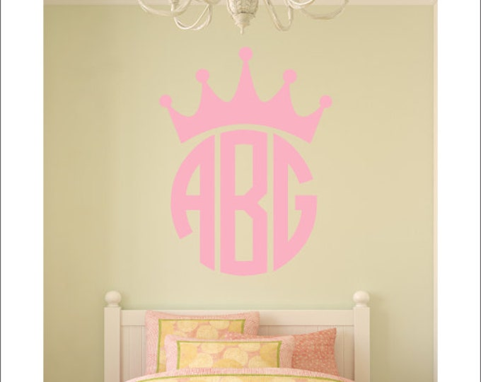 Crown Monogram Wall Decal Personalized Wall Monogram with Crown Princess Monogram Wall Decal Girls Teen Nursery Bedroom Wall Decall
