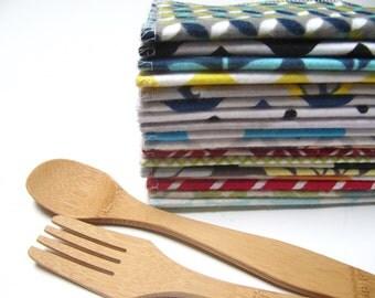 Cloth Napkins, 60 Mod Mixed Napkins, Eco-Friendly Napkin, Unpaper Napkin